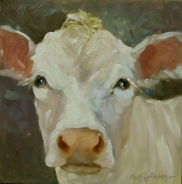 There is something about cows in artwork that draws me... maybe it's because they have such sweet faces...    I love the softness of the eyes in this cow...