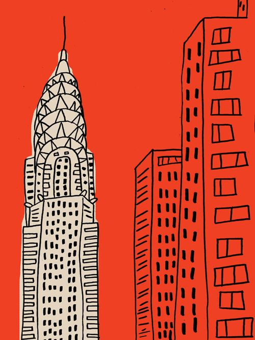 New York illustration  red