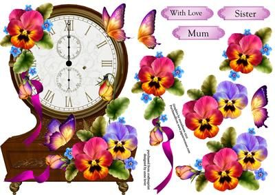 Fabulous Floral Clock Shaped Topper Pansies on Craftsuprint designed by Anne Lever - This lovely topper is shaped like a vintage clock and is embellished with gorgeous pansies and butterflies. It has decoupage and three greetings. The greetings are with love, mum and sister. The topper will fit onto an A5 card front. - Now available for download!