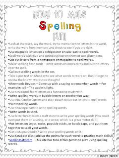 Classroom Freebies: How to Make Spelling Fun - Parent Handout