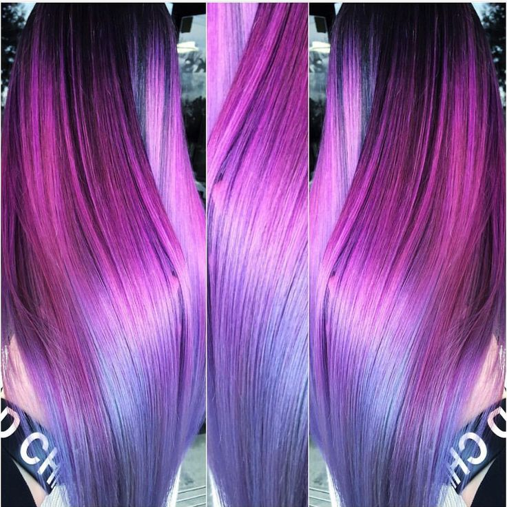 Breathtaking magenta to silver blue color melt by Brittnie Garcia hotonbeauty.com magenta hair color mermaid hair unicorn hair