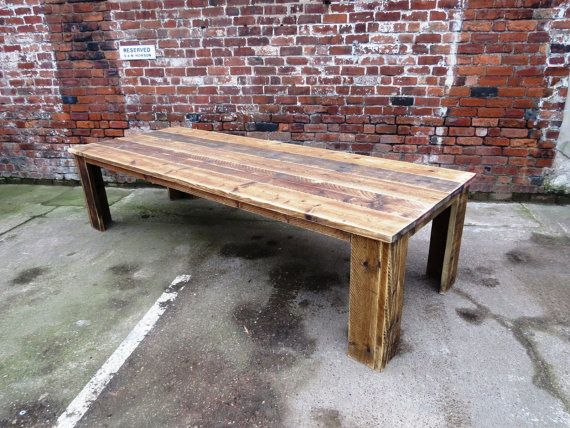 Reclaimed industrial chic 10 12 seater solid wood dining for 12 seater wooden dining table