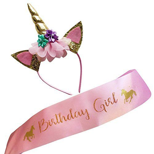 JeVenis Gold Unicorn Headband and Birthday Girl Sash Set for Unicorn Party