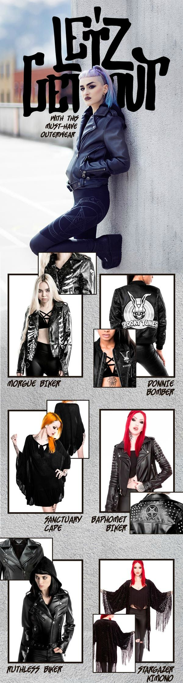 Let's get out! Our latest Outerwear pieces for women including vegan leather, bomber jackets & capes. Shop Now at KILLSTAR.com We Ship Worldwide!