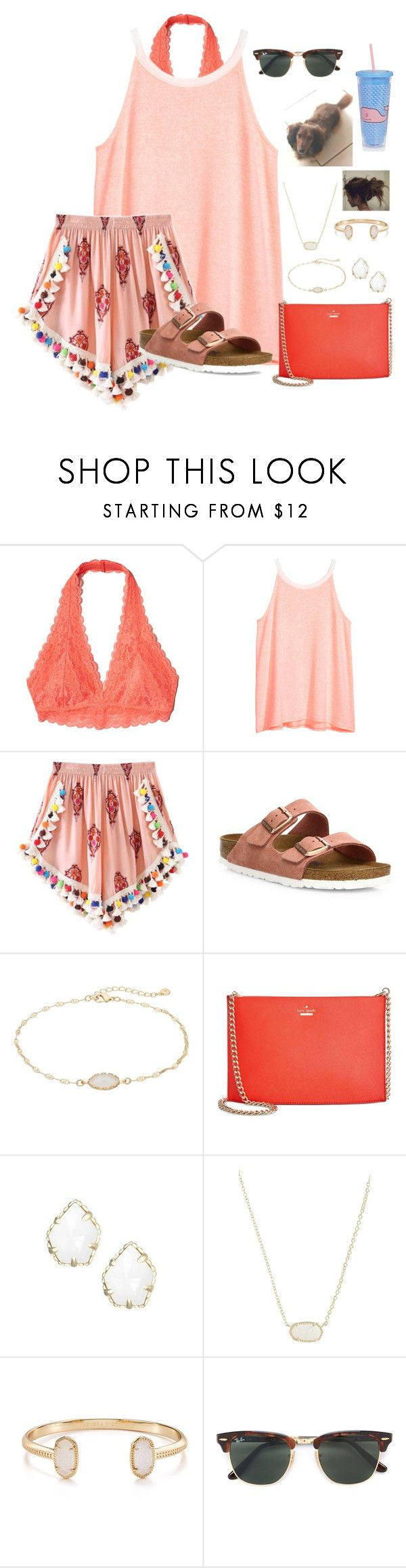 """~~"" by taybug2147 ❤ liked on Polyvore featuring Hollister Co., H&M, Birkenstock, LC Lauren Conrad, Kate Spade, Kendra Scott, Ray-Ban and Sunnylife"