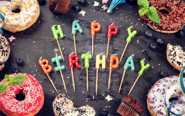 Download wallpapers Happy Birthday, lollipops, muffins, sweets, decorations, Birthday
