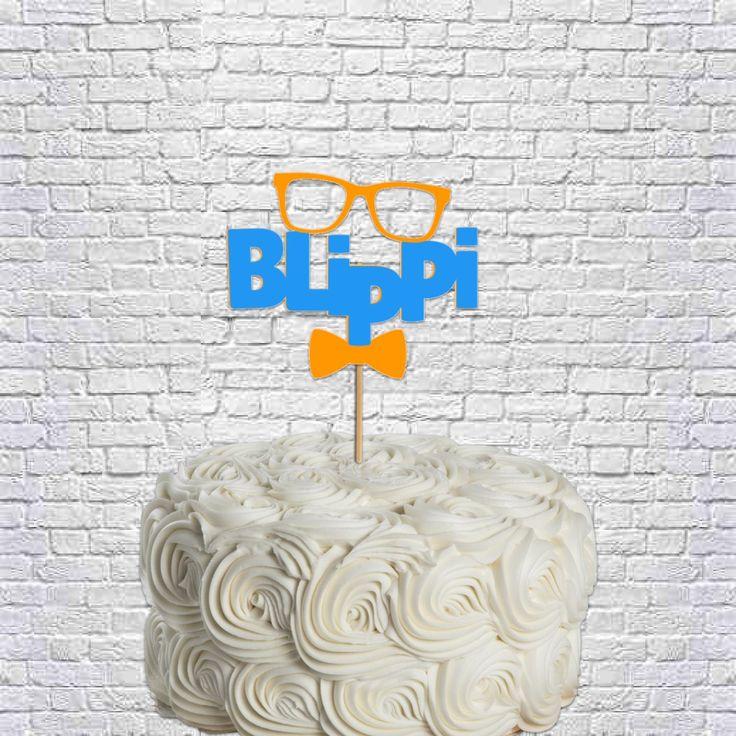 Blippi birthday party cake topper custom number cake topper