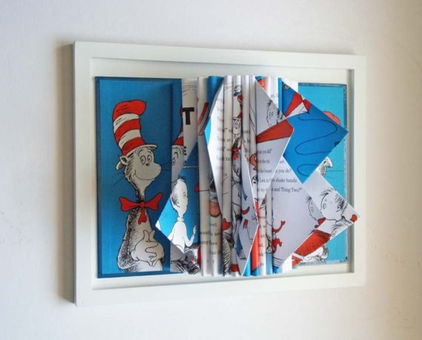 Dr. Seuss Book Sculpture by Y Instead of I - $35.00 »    This real Dr. Seuss book has been turned into a piece of sculptural art for your wall. It is a unique way to display a childhood classic.