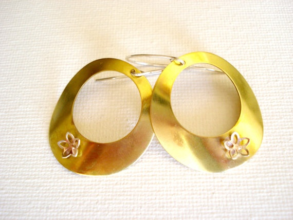 Mixed metal brass and sterling silver convex by PenelopeStudio, €22.00