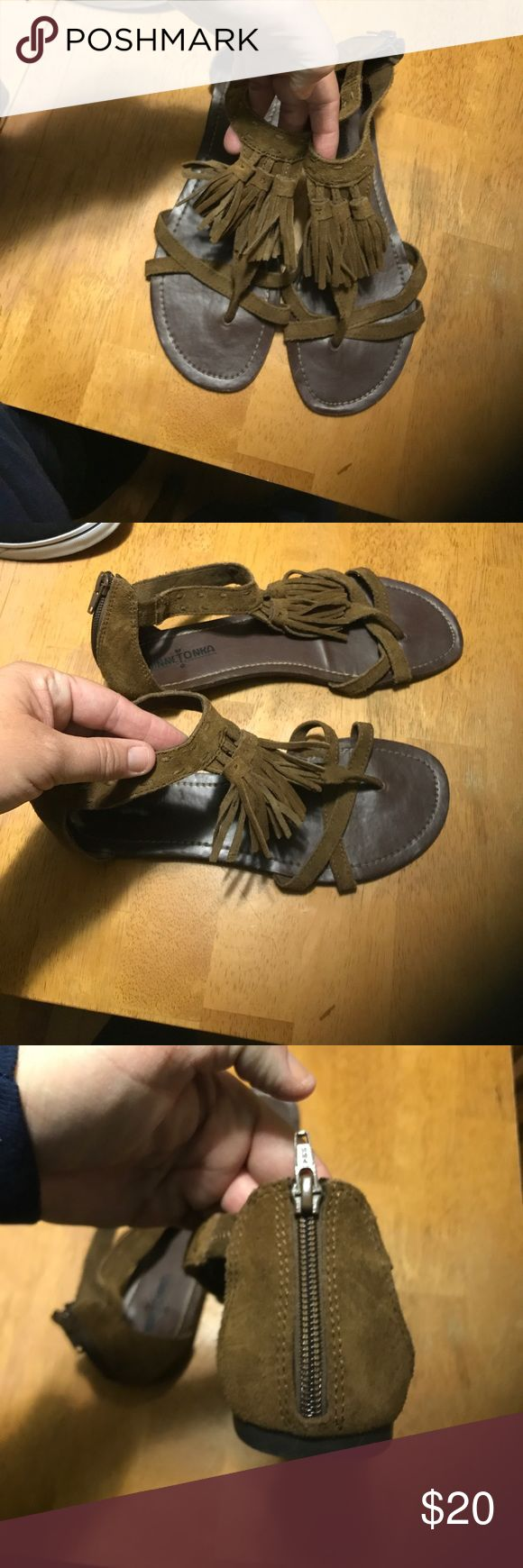 SUEDE MINNETONKA SANDALS Ladies size 9. Genuine suede leather. Brown. Excellent used condition. 1 owner, smoke free home. Minnetonka Shoes Sandals