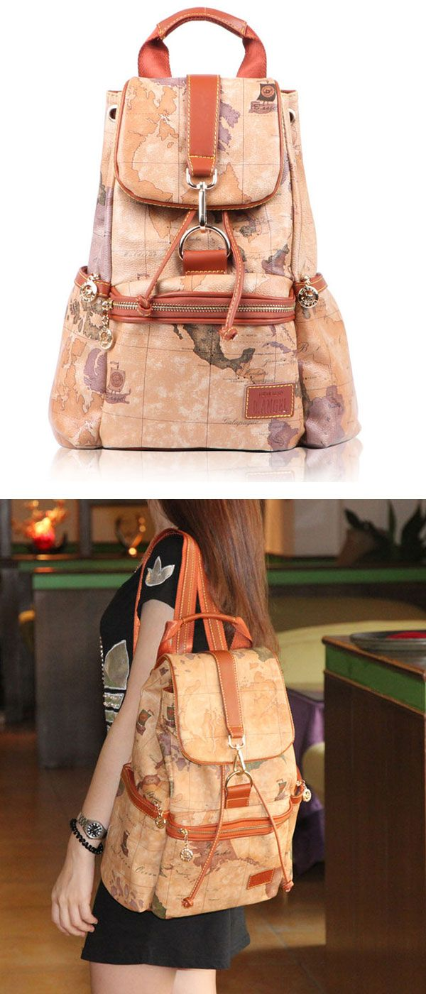 Retro Leisure World Map Backpacks only $45.99