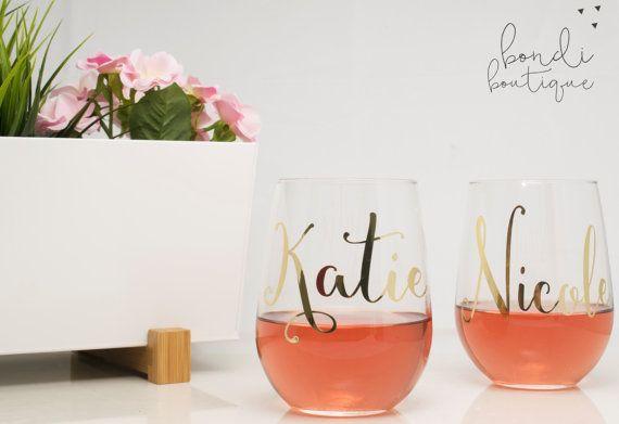 Persoonlijke wijnglazen  Stemless wijnglas  door BondiboutiqueCo