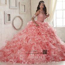 Coral Tweedelige Quinceanera Jurken 2017 Online Vestido Debutante 15 anos Maskerade Prom Dresses Steentjes Zoete 16 Baljurk(China (Mainland))