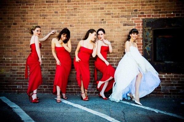 Modern Red Wedding -  Bridesmaids