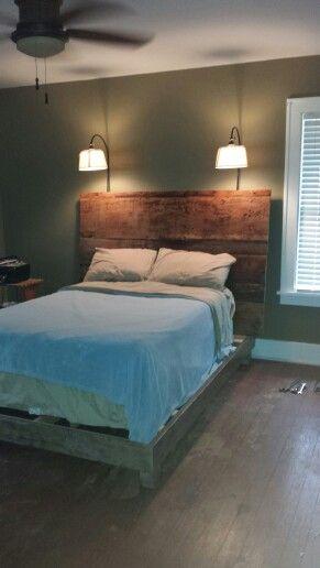 Diy rustic platform bed with barnwood headboard