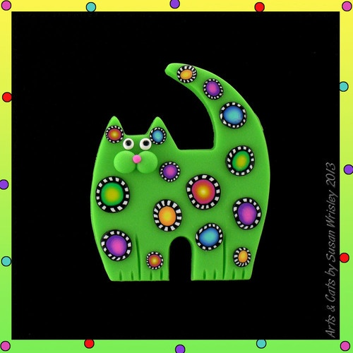 Medium Standing Lime Green Carnival Kitty Cat & Colorful Spots Pin