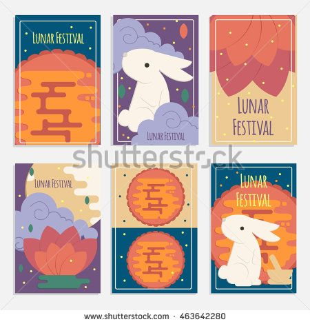Chinese mid autumn festival banners in flat style. Vector lunar festival concept cards with rabbit, mortar and pestle, moon cake and lotus flower…