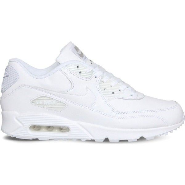 NIKE Air max 90 leather trainers ($120) ❤ liked on Polyvore featuring shoes, sneakers, round cap, lace up sneakers, leather trainers, rubber sole shoes and nike