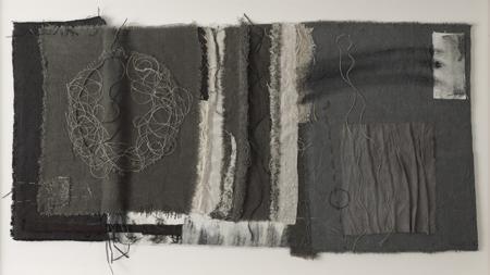 gizella warburton  'passage I'  textile, stitch, mixed media    (91 x 51 cm)