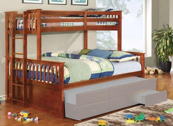 University Oak Wood Twin/Queen Bunk Bed (Trundle Not Include)