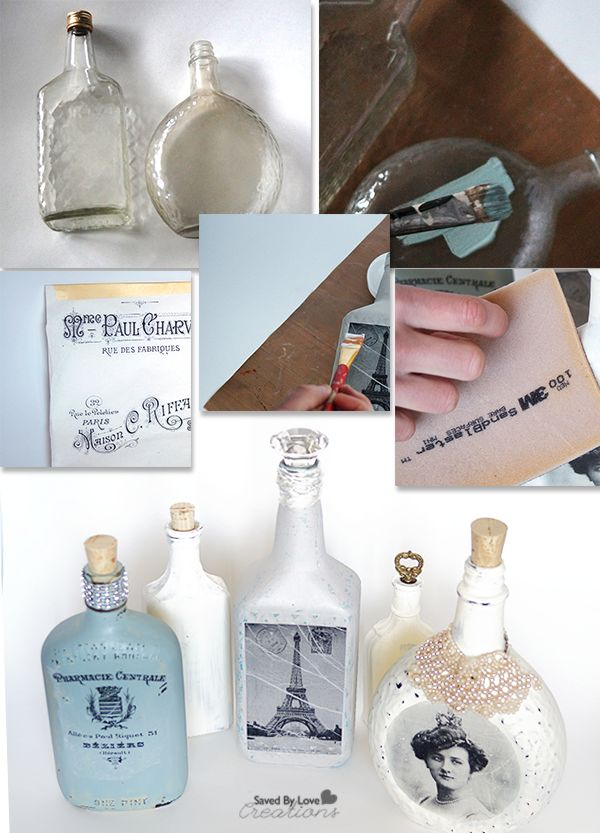 Image Transfer Recycled Glass Bottle Tutorial http://savedbylovecreations.com/2014/07/diy-image-transfer-recycled-glass-bottles/