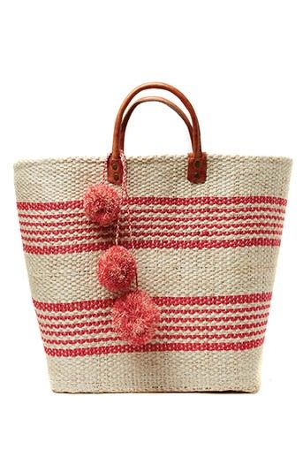 Mar y Sol Caracas Wonen Sisal Basket with Pom Poms in Coral at Pesca Boutique. - Price: $94.00