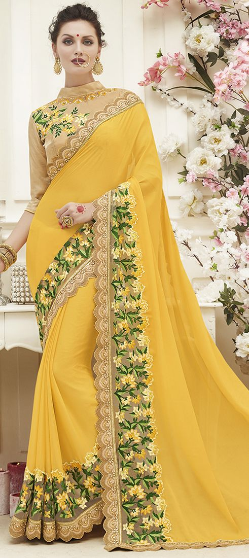 732286: Yellow  color family Embroidered Sarees, Party Wear Sarees   with matching unstitched blouse.