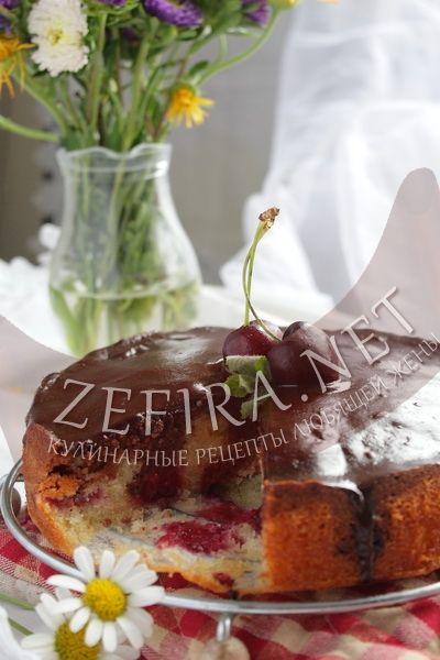 Пирог с вишней и шоколадом-домашние рецепты с фото