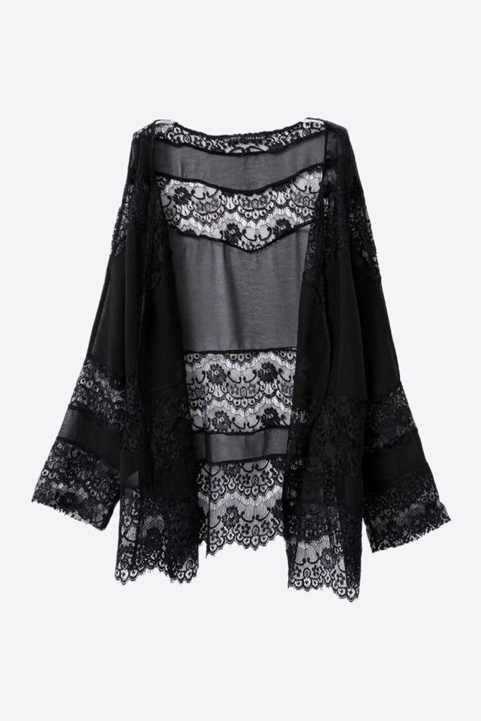 Black Openwork Crochet Lace Kimono. Free 3-7 days expedited shipping to U.S. Free first class word wide shipping. Customer service: help@moooh.net