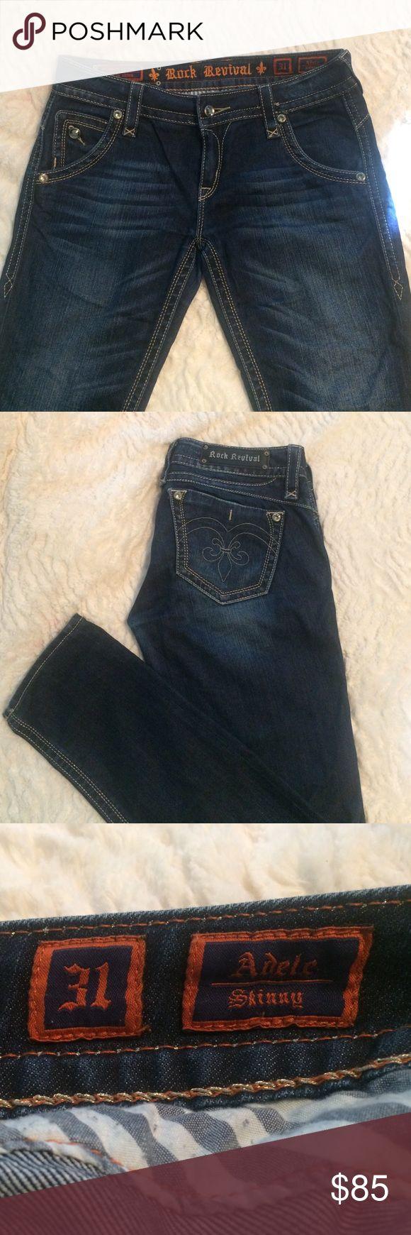Rock Revival Adele Skinny Jeans Dark wash skinny jean... NO STRETCH! In great condition... Rock Revival Jeans Skinny