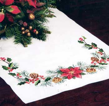 Christmas Greens Tablerunner Kit (cross stitch)