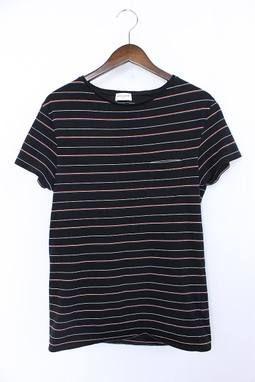 サンローランパリ/SAINTLAURENTPARIS【14AW】【361075】胸ポケットボーダーTシャツ(S/ブラック×レッド×ホワイト)【01】【メンズ】【417071】【中古】bb14#rinkan*B