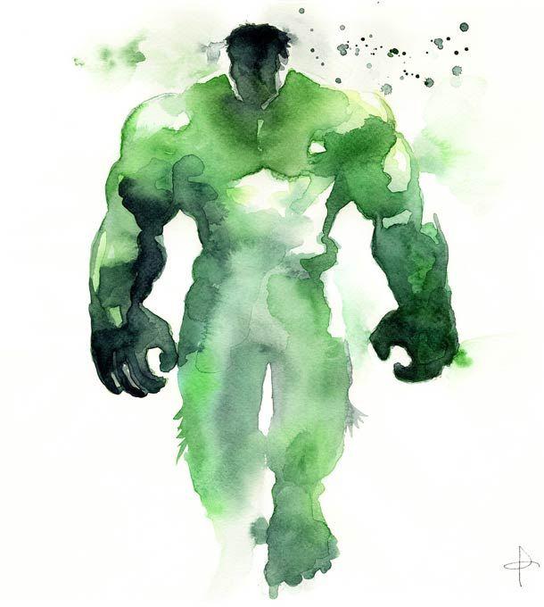 Super-heróis em aquarela!