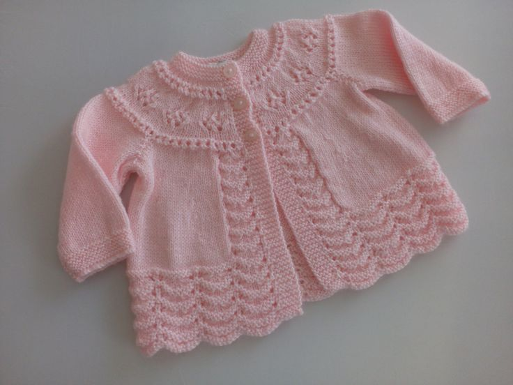 Hand knitted baby jacket in pink nylon by EmerenciaHandcrafts