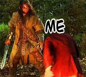 "Totally what I would do if I saw Kili, or Thorin, Thranduil, or Legolas.\ is that a ""stunt-Kili"" or actually Aidan Turner catching a ""scale-Bilbo""?"