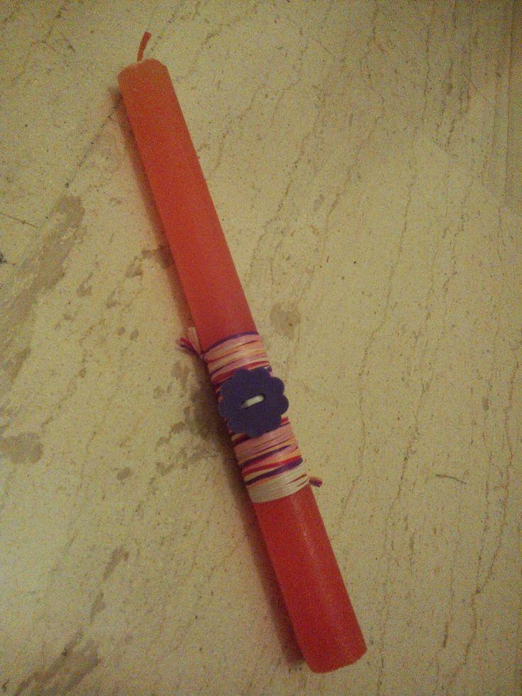 OTINANAI: Πορτοκαλί λαμπάδα με κουμπάκι λουλουδάκι και πολύχ...