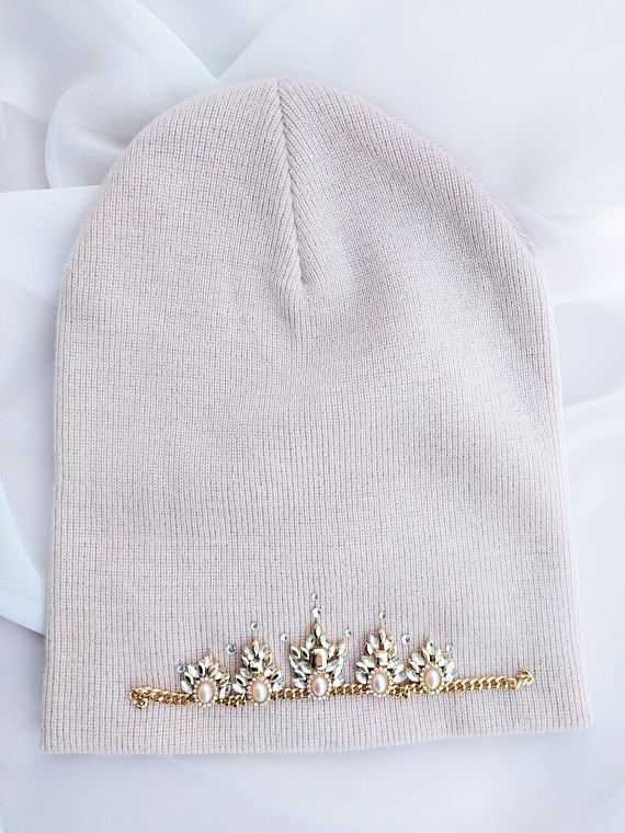 4a48e89c2 Embellished slouchie millennial pink knit beanie   My style   Beanie ...