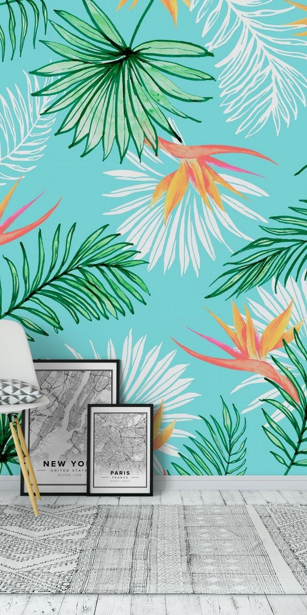Tropic Palm Wall Mural In 2020 Palm Wallpaper Wall Murals