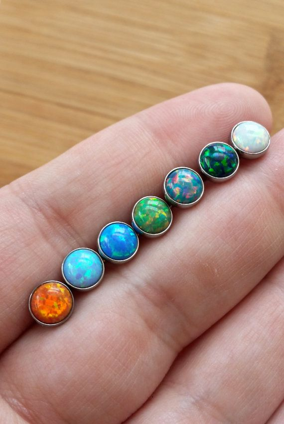Opal 14 gauge 1.6mm Stone Tongue Barbell 5/8 by FeatherBlueJewelry