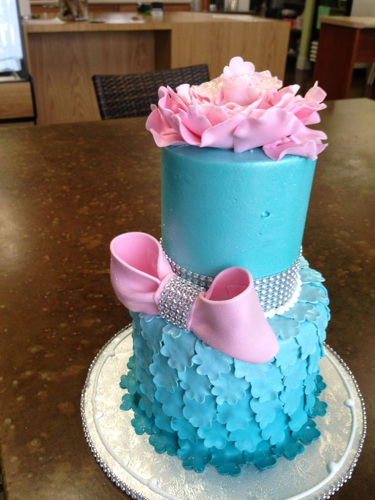 Tiffany blue and pink birthday cake , Sweet Layers