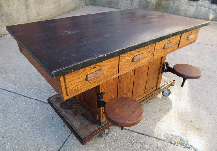 Vintage Oak Wood Chemistry Lab School Table Kitchen
