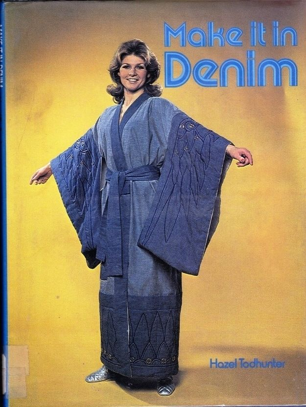 Um, if anyone finds a copy of this one, send it to Chris. It'd be an upgrade for his wardrobe. (at 26 Hilariously Bad Book Covers)14 Book, Complete Mortifi, Libraries Book, Library Books, 1970S Fashion, Denim, Book Covers, Kimonos, Come Back