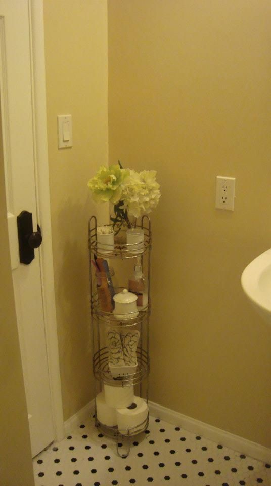 Plant Stand as Bathroom Storage