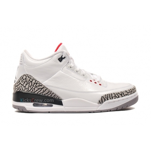 Air Jordan 3 Cement Grey White Fire Red Cement Grey Black 136064-105 $54