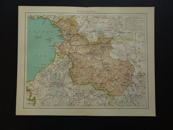 Antique Dutch map of Overijsel  1910 old print by DecorativePrints