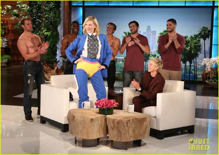 "Cate Blanchett poses in her brand new ""Ellen"" underwear during her appearance on The Ellen DeGeneres Show (3-3-15)"