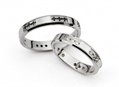White Gold Wedding Bands with White and Black Zirconia