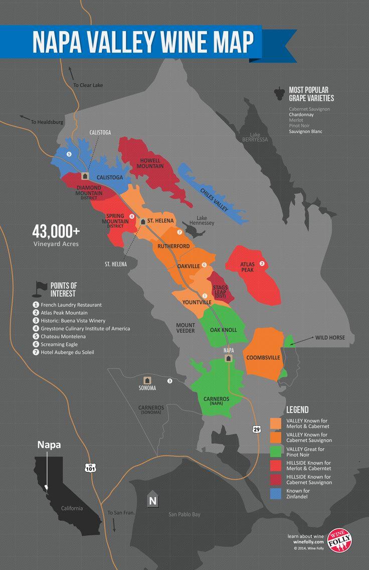 Napa Valley Wine Region Map 735 best