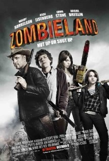 Zombieland (2009) | » Horror DVDs A cowardly shut-in named Columbus (Jesse Eisenberg) is forced to join up with a seasoned zombie slayer named Tallahassee (Woody Harrelson) in order to survive the zombie apocalypse.  As Tallahassee sets out on a mission to find the last Twinkie on Earth, the duo meets up with Wichita (Emma Stone) and Little Rock (Abigail Breslin), two young girls who have resorted to some rather unorthodox methods to survive amidst the chaos.