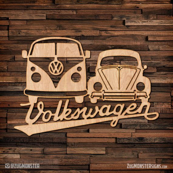 Volkswagen Bus & Bug – wood hanging wall art